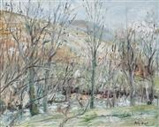 Sale 8938A - Lot 5093 - Polly Boyd (1946 - ) - Bare Trees and Rushing Waters 59.5 x 74 cm (frame: 73.5 x 98.5 x 6 cm)