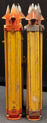 Sale 8984W - Lot 551 - A group of four surveyors tripods in predominantly timber with metal spikes. Approx height 108cm
