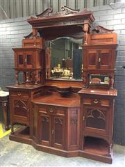 Sale 9014 - Lot 1055 - Unusual Late 19th Century Gothic Revival Cedar Sideboard, the central mirror with pediment dated 1899, flanked by cupboards & subsid...