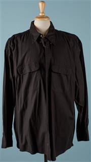 Sale 9080F - Lot 34 - A BURBERRY BUTTON UP SHIRT; in black with two front pockets,  size 2XL