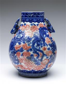 Sale 9093 - Lot 88 - Large Chinese Blue and White Twin Deer Handled Vase Decorated with Dragon and Phoenix Motif (H 35cm)