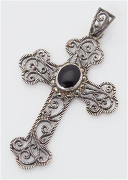 Sale 9123J - Lot 343 - A large filigree sterling silver cross, bezel set to the centre with an oval cabochon cut onyx framed by a band of marcasite. L: 60m...