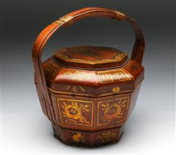 Sale 9144 - Lot 274 - Chinese painted timber hooped handled food container (H:34cm)
