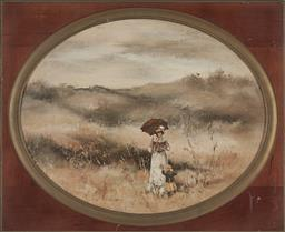 Sale 9172 - Lot 2023 - Anita Newman (2 works) Spring Morning; Afternoon Stroll through the Fields oil on canvas board, 46 x 57cm; 57 x 46cm (frames) sign...