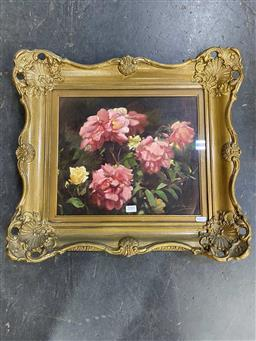 Sale 9176 - Lot 2001 - Lyallpur Tyndall Pink and Yellow Roses oil on canvas on board 48 x 53cm (frame) signed -