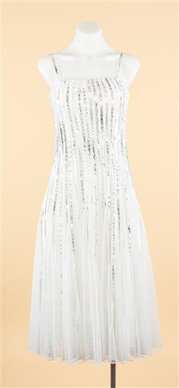 Sale 9250F - Lot 96 - A Johnston & Bell fishnet pleated dress with removable spaghetti straps, size 10.