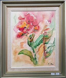 Sale 9254 - Lot 2080 - N Ross Floral Still Life ink and watercolour 50 x 42 cm, signed -