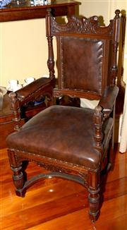 Sale 7997 - Lot 20 - A PAIR OF ANTIQUE WELL CARVED OAK HALL ARMCHAIRS WITH PADDED BACK & SEAT RAISED ON FRONT VASE