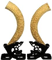 Sale 8065 - Lot 10 - Chinese Carved Pair of Tusks