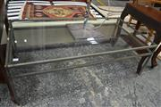 Sale 8093 - Lot 1077 - Glass Top Coffee Table w Metal Base