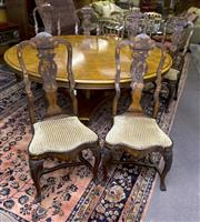 Sale 8310A - Lot 70 - A set of six Dutch C18th style splat back dining chairs with painted and inlaid with flora and fauna motif, drop in seats upholstere...