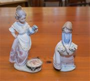 Sale 8368A - Lot 38 - Two Lladro figures of young girls, larger holding a pitcher, H 22cm