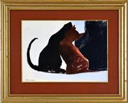Sale 8401 - Lot 555 - Charles Blackman (1928 - ) - Black and Brown Cats 28 x 37.5cm