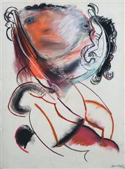Sale 8410A - Lot 5032 - Anne Hall (1945 - ) - Untitled, 1965 (Abstract Portrait) 76.5 x 56cm (sheet size)