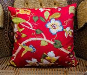 Sale 8448A - Lot 17 - Red floral Oriental style decorative cushion 45cm x 45cm Condition: NEW