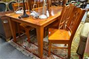 Sale 8515 - Lot 1049 - Timber Seven Piece Dining Setting incl. Table & Six Chairs