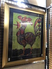 Sale 8811 - Lot 2053 - Artist Unknown - Rooster, 2001 oil on paper, frame size: 57 x 48, signed Radovan