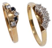 Sale 8974 - Lot 307 - TWO 18CT GOLD DIAMOND AND GEMSET RINGS; one set with 5 single cut diamonds other with 2 round cut blue sapphires and 3 round brillia...