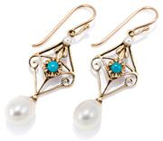 Sale 9083 - Lot 407 - A PAIR OF EDWARDIAN STYLE TURQUOISE AND PEARL EARRINGS; lozenge shape drops each set with a cabochon turquoise and a seed pearl susp...