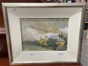 Sale 9077 - Lot 2070 - Artist Unknown Farmhouse Under Grey Skies, oil on board, frame: 37 x 31 cm, unsigned -