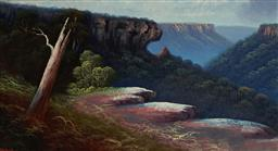 Sale 9109 - Lot 600 - James Hutchings Snr (1872 - 1962) Govetts Leap Lookout, Blue Mountains oil on board 34 x 62.5 cm (frame: 49 x 78 x 4 cm) signed lowe...