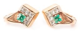 Sale 9149 - Lot 341 - A PAIR OF RUSSIAN 14CT GOLD DIAMOND AND GEMSTONE EARRINGS; chevron mounts each set with a square cut synthetic emerald adjacent to 5...