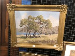 Sale 9176 - Lot 2005 - Alex Edwards Picnic at the Spit oil on board 46 x 56cm (frame) signed lower right -