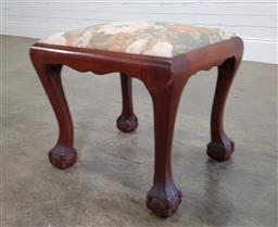 Sale 9188 - Lot 1426A - Timber Chippendale style stool with cushion (h:46 w:48 d:44cm)