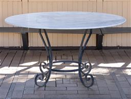 Sale 9248H - Lot 6 - Wrought iron table base, marble top outdoor table 76 h x 135cm