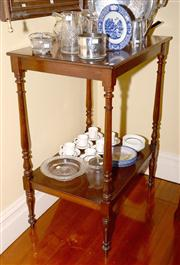 Sale 7997 - Lot 19 - AN ANTIQUE COLONIAL CEDAR 2 TIER SERVERY RAISED ON RING & TAPERED TURNINGS.