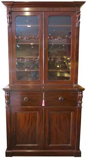 Sale 8258A - Lot 15 - Top quality mahogany secrétaire/two height bookcase, fitted secrétaire with cellarette to base, matching corbels top and base, mid V...