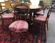 Sale 8310A - Lot 80 - A set of six C19th carved walnut balloon back dining chairs, with pink acanthus motif upholstery (repairs to chair backs)