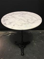 Sale 8402B - Lot 85 - French Style Cafe Table with White Marble Top on Cast Iron Base, 60cm diameter