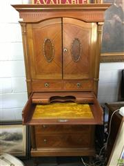 Sale 8649R - Lot 146 - Spanish C20th Louis XVI Style Fitted Cabinet with Column Supports and Writing Slope (Stamped to Back) (H: 169 W: 89 D: 57cm)