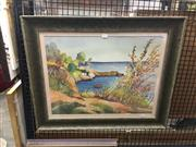Sale 8702 - Lot 2031 - Artist Unknown Mediterranean Coast watercolour,  71 x 74cm, signed lower right