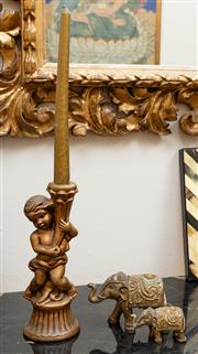 Sale 8882H - Lot 60 - A gilt ceramic putto candlestick together with elephant ornaments, Height 22cm