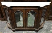 Sale 8993 - Lot 1092 - Victorian Figured Walnut Credenza, with shaped white marble top, above three mirror panel doors (marble restored) ( H94 x W167 x D49cm)