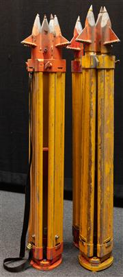 Sale 8984W - Lot 553 - A group of four surveyors tripods in predominantly timber with metal spikes. Approx height 108cm