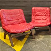 Sale 9056 - Lot 1027 - Pair of Danish Style Bent Ply Lounge Chairs (h:81 x w:64 x d:56cm)