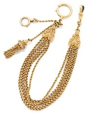 Sale 9066 - Lot 392 - AN ANTIQUE GOLD CASED ALBERTINA; 5 strands of rope twist and fancy belcher links to embossed terminals, one end with swivel clasp, o...