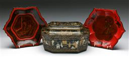 Sale 9144 - Lot 227 - Black and gilt lacquered box featuring village scenes (L:29cm) together with 2 lacquered plates (Dia:28.5cm)