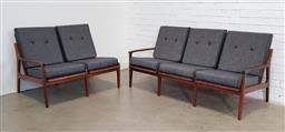 Sale 9171 - Lot 1065 - Vintage teak 3 seater and 2 seater lounges with removable cushions (h:78 x w:175 x d:78cm)