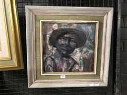 Sale 9163 - Lot 2041 - Artist Unknown Portrait mixed media collage on board, frame: 42 x 53 cm, unsigned