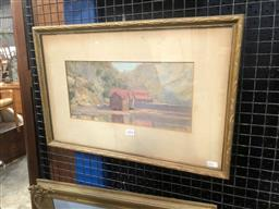 Sale 9176 - Lot 2004 - R. Strath River Jetty, 1928 oil on board 36 x 53cm (frame) signed -