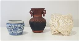 Sale 9188 - Lot 1746A - Ceramic planter, plant stand and vase