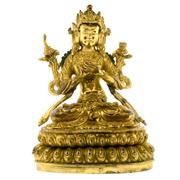 Sale 8015A - Lot 88 - A FINE CHINESE GILT BRONZE FIGURE OF BODHISATTVA MANJUSRI