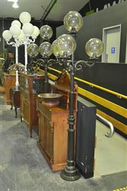 Sale 8165 - Lot 1001 - Pair of Metal Street Lights with 4 Glass Ball Shades