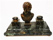 Sale 8272A - Lot 2 - An antique French Napoleon Bonaparte green marble inkwell.  Overall length: 35 cm