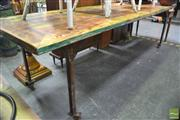 Sale 8299 - Lot 1037 - Large Industrial Timber Top Table on Iron Base