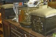 Sale 8338 - Lot 1297 - Pressed Brass Fire Guard & Bucket with Fuel Boxes and Tools